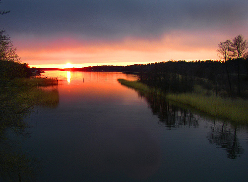 Sunset over lake landscape photo