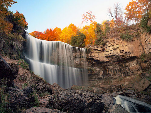 Waterfall in Fall, taken using a neutral density filter
