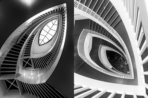 yin and yang - diptych of architectural detail shots of the staircase in the Chicago Museum of Contemporary Art