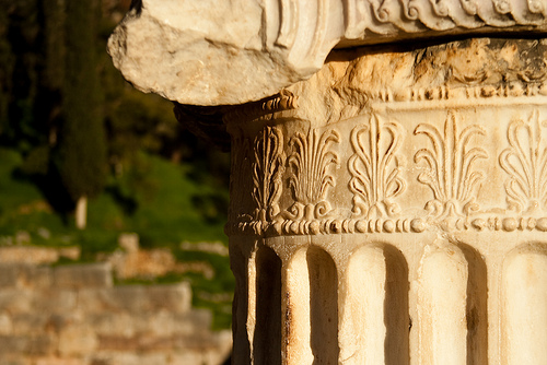 Architectural detail of ancient Greek stone column