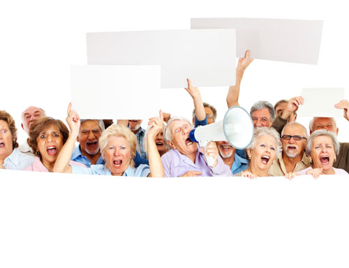 Stock Photo of seniors with placards from iStock