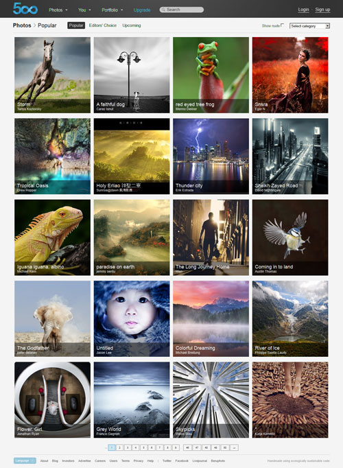 Popular Photos page on 500px.com
