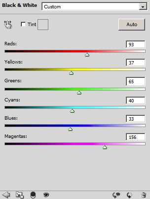 Photoshop Black & White conversion adjustment panel