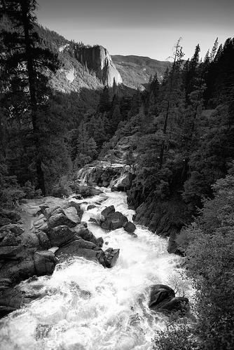Yosemite B&W waterfalls landscape photo
