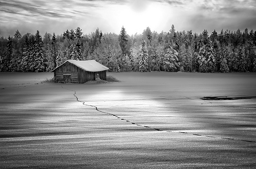 Barn in the snow B&W landscape photo