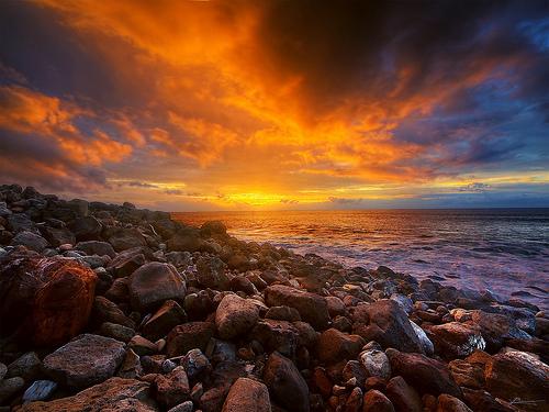 Sunset ocean travel photo