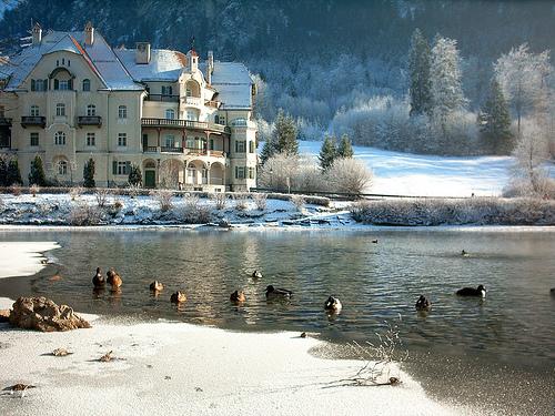 Hotel on the Alpsee (Alp lake) near Füssen in winter