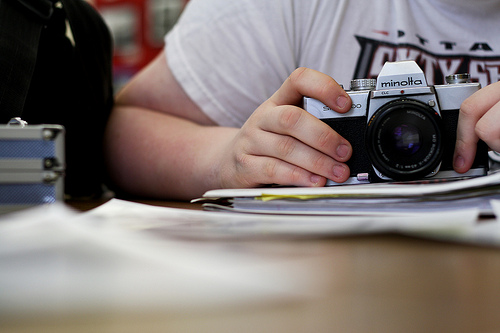 Student's Minolta camera, sitting in a photography class