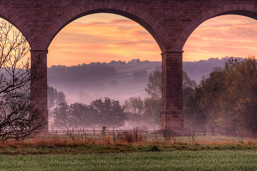 Through The Arches - misty Fall morning