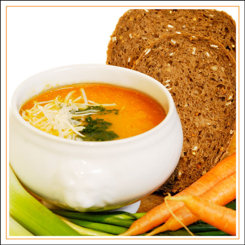 Food Photography - soup with bread