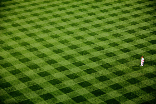 High angle photo of diamond pattern in the grass at the Yankee Stadium