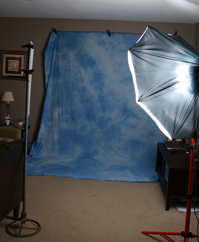 Home studio with home-made photography background