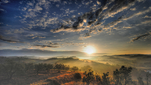 Sunrise over the hills of Tuscany
