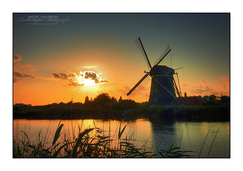 HDR Sunset @ Windmill 'Prinsenmolen', Rotterdam