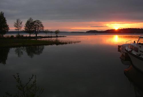 Sunset over lake, Ekerö, Sweden