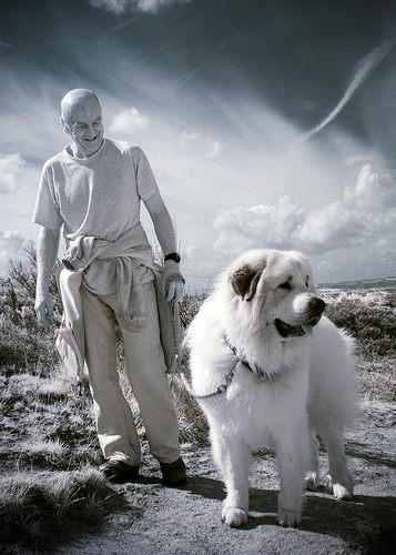 Man with dog infrared photograph