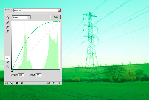Photo with the green channel boosted using curves