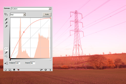 Photo with the red channel boosted using curves