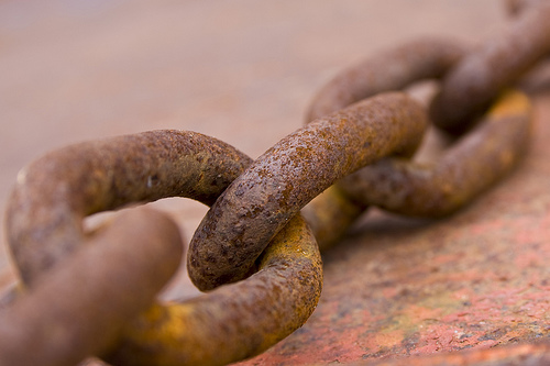 Abstract macro photo of rusty chain detail