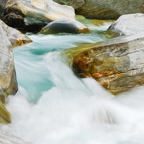 Photo of flowing water taken with a neutral density filter to give a smoother look