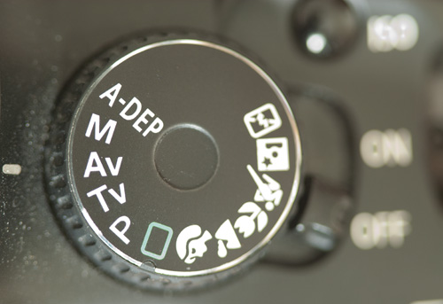 Mode dial on Canon 450D camera indicating camera is set to Aperture Priority mode
