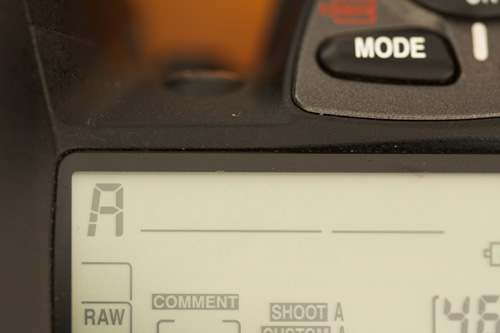 Top LCD panel on Nikon D200 indicating camera is set to Aperture Priority mode