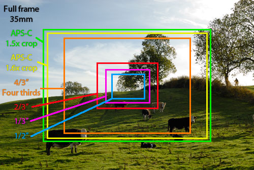 Image showing relative field of view for a given focal length of different size image sensors
