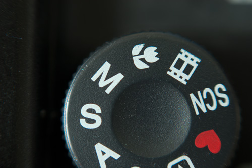 Camera mode dial set to S for shutter priority mode