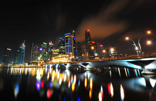 Singapore at night long exposure photograph