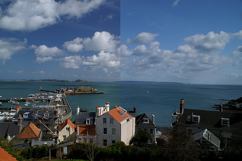 Polarizer Comparison - half photo with polaraisation, other half without