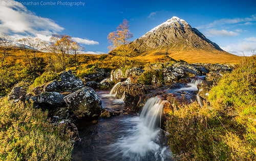 Autumn landscape photo where a polarising filter was used to reduce the shutter speed, helping to smooth the movement in waterfalls