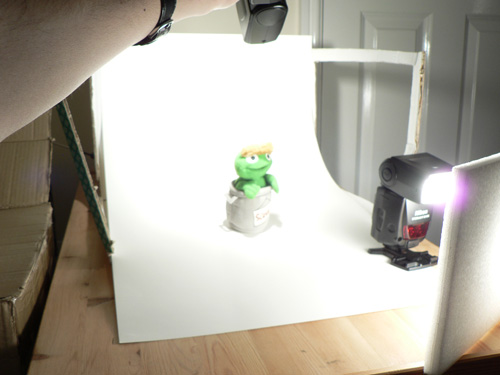 Setup for photographing product with white background