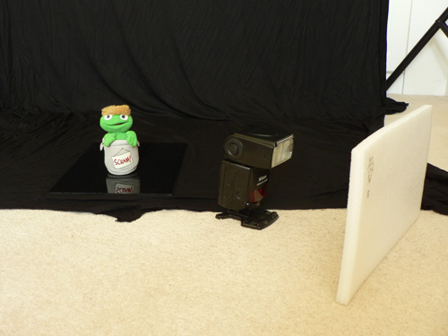 Setup for photographing product with black background and reflection