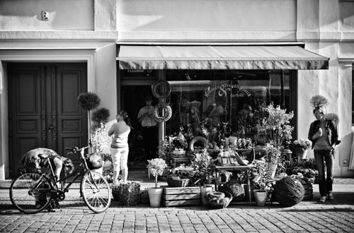 Flowershop Black & white street photograph
