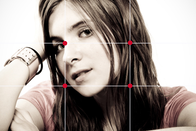 Portrait photo rule of thirds intersection on subject's eye