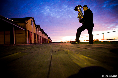 Tuba player at twilight
