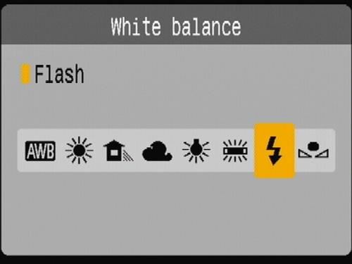 Camera White Balance settings menu