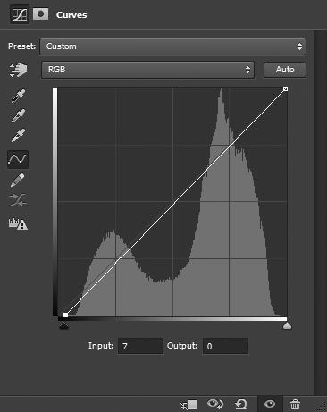 Curves adjustment with black point adjusted