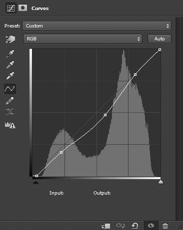Curves adjustment with black point adjusted and midtones darkened