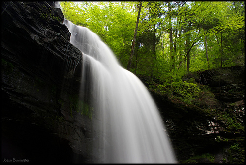 Waterfall in Ricketts Glen State Park - photographed using a tripod