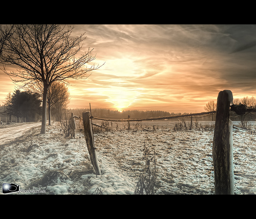 Winter scene HDR landscape photo - photographed using a tripod