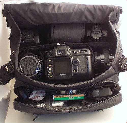 Camera bag filled with camera gear