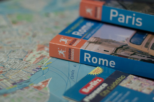 Vacation Planning - Map and travel books