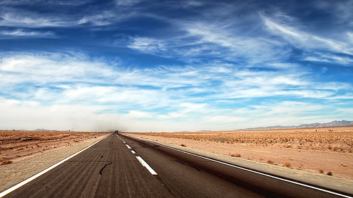 Road to nowhere in Iran - clean, minimalistic photo