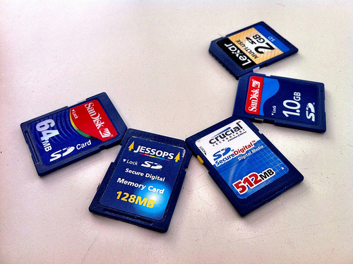 SD memory cards in various capacities