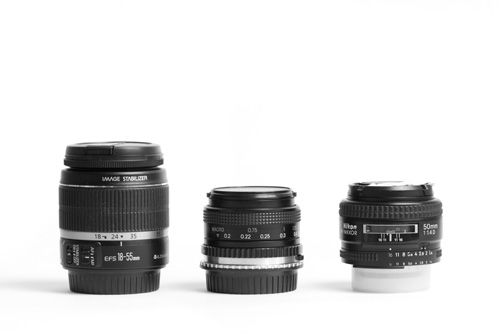 18-55mm zoom lens, 24mm prime lens, 50mm prime lens