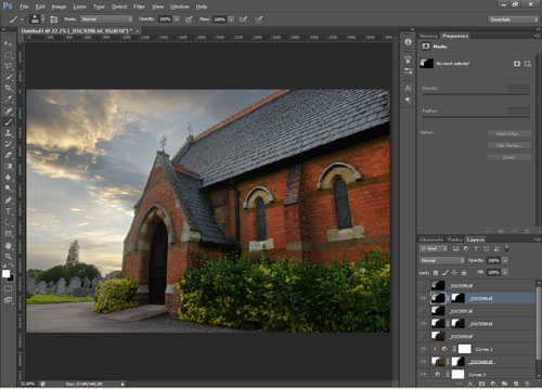Blending bracketed exposures using layer masks in Photoshop
