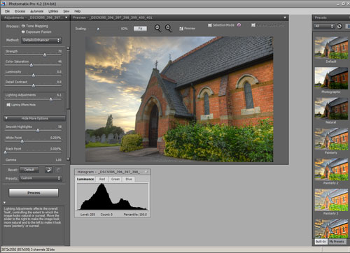 Tonemapping an HDR photo in Photomatix