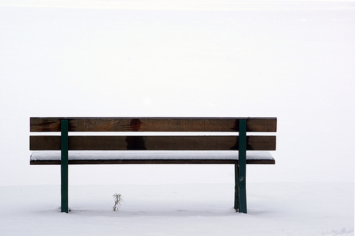 Bench in the snow - nice simple, minimalistic composition