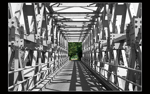 Photo of bridge - nice contrast between beams and shadows and also good use of color contrast with the trees